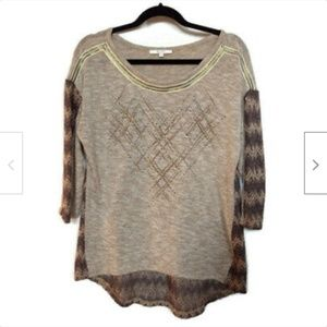 Miss Me brown gold scoop neck sweater size M